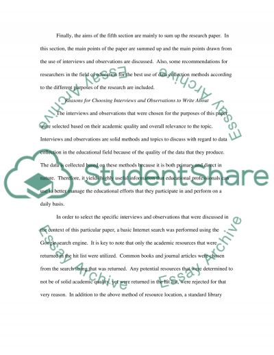 Interviews and Observations in Education essay example