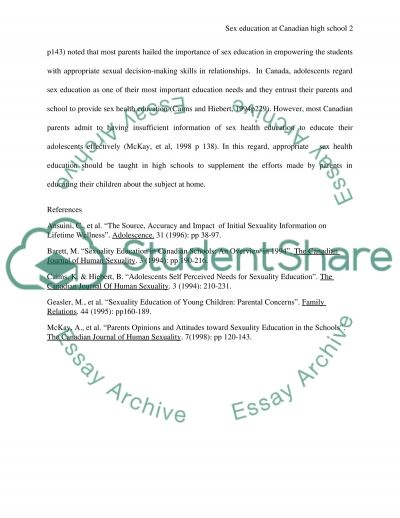 Sex education at high school in Canada essay example