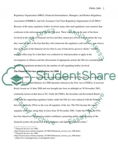 Financial Services Law essay example