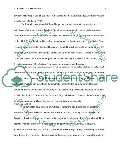 Cognitive Assessment essay example