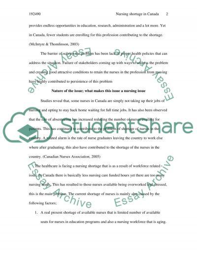 Nursing shortage in Canada essay example