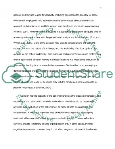 Patients with Dementia essay example