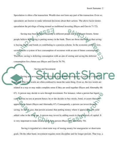 Investment and saving decisions essay example