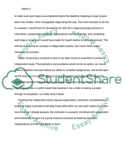 Why I would be successful on Independent Studies ( Home Studies)