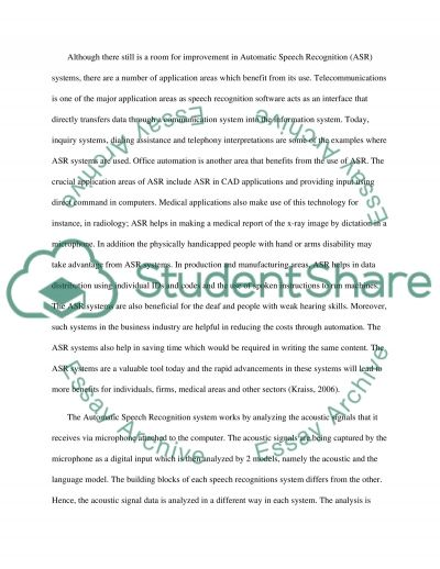 Automatic Speech Recognition essay example