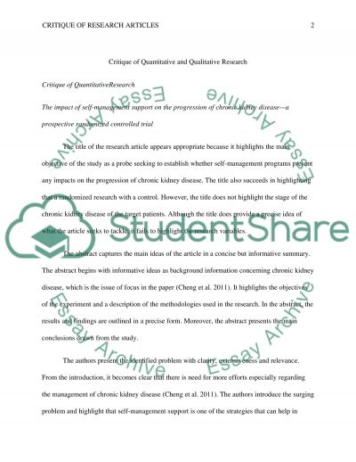 Citique of Research Studies essay example