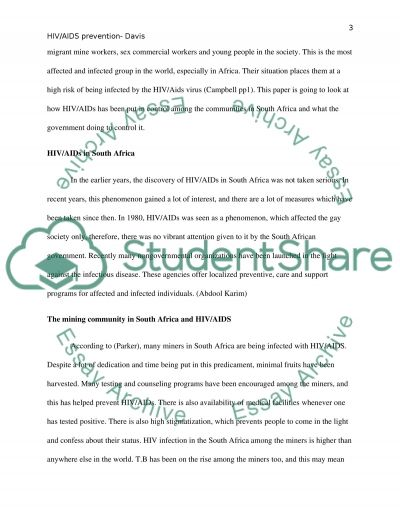 HIV/AIDS Prevention essay example