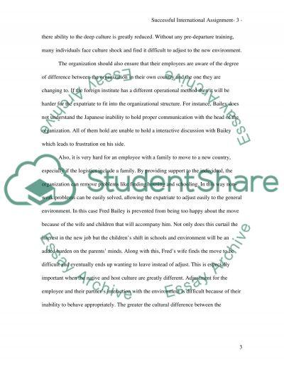 Successful International Assignment essay example