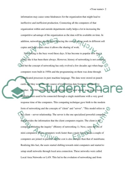 Computer Networking Essay essay example
