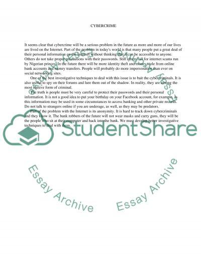 Cybercrime essay example