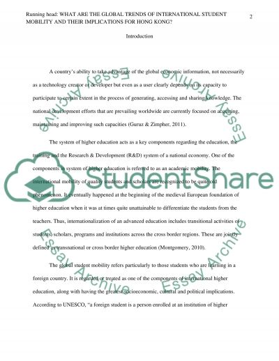 What Are The Global Trends Of International Student Mobility And Their Implications For Hong Kong essay example