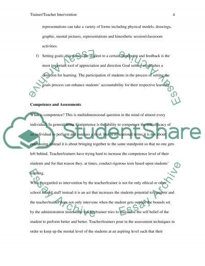Teacher/Trainer Intervention essay example