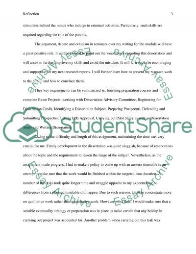 Reflection on dissertation