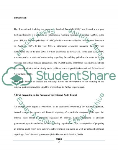 Audit essay example