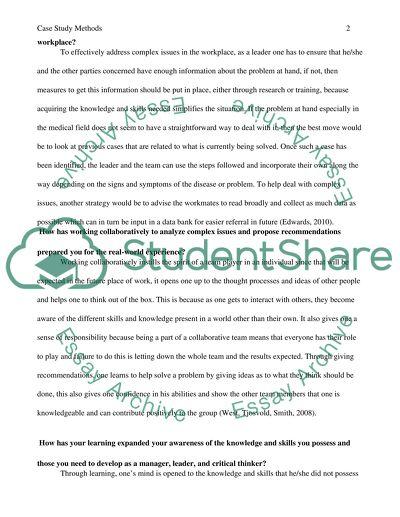 Reflection paper (Case study methods)