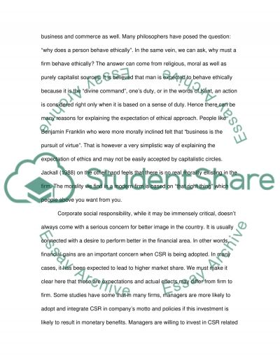 Corporate Social Responsibility (Business Ethics) essay example