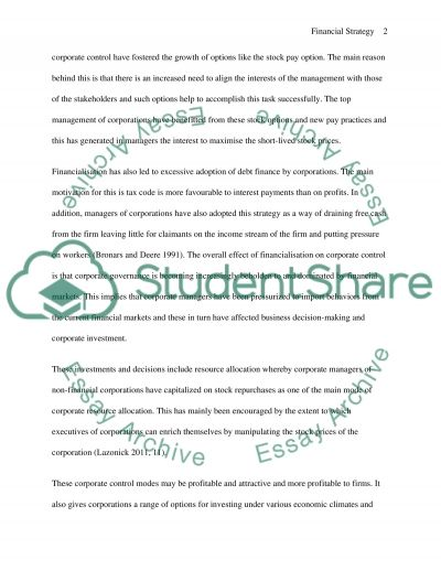 Financial Strategy Essay example