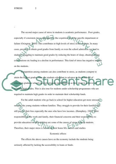 effects of stress on students essays Essay on negative effects of stress essay on negative effects of stress 575 words 3 pages  positive or negative impact of stress on students 775 words | 3 pages firth- cozens, 2001) stress can have a negative or positive impact on a student but it all depends on how they perceive it an individual's response to stress is determined by.