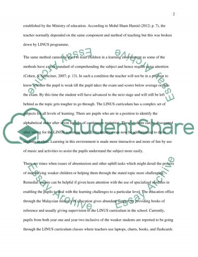 Identifying the academic and Behavioural Support Needs of Teachers Teaching in LINUS classrooms in Malaysia essay example