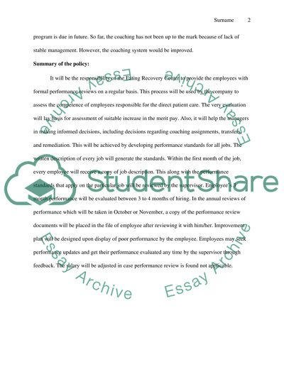 performance management process assignment example  topics and well  performance management process