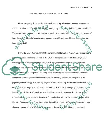 Green computing or networking Research Paper Example