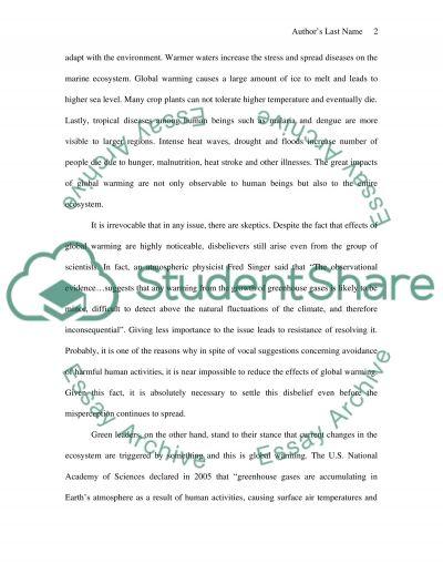Origins of global warming essay example