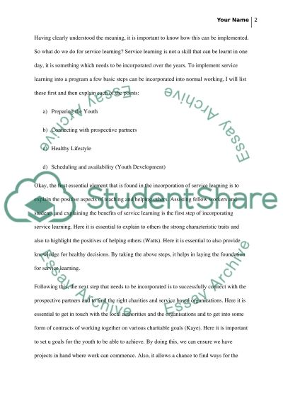 How to do service learning essay example