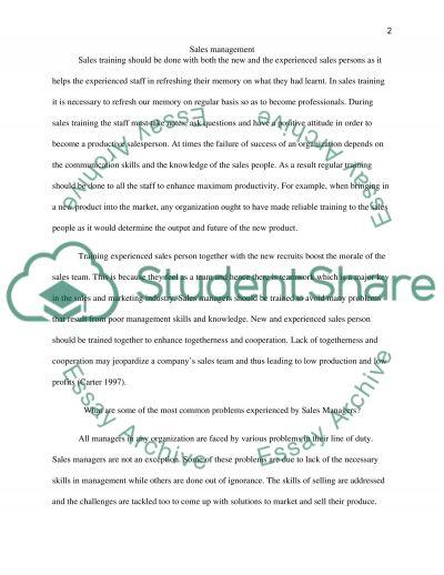 Sales management essay example