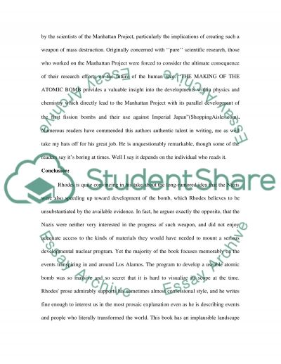 The Making of the Atomic Bomb essay example