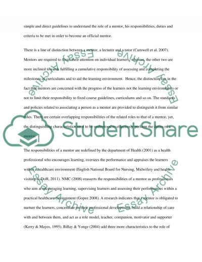 Mentors: An Analysis of Roles, Responsibilities and Duties Essay example