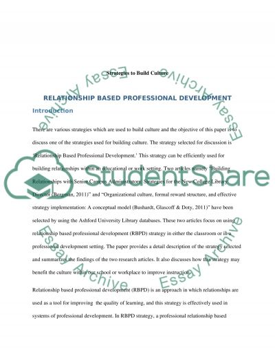 Strategies to Build Culture essay example