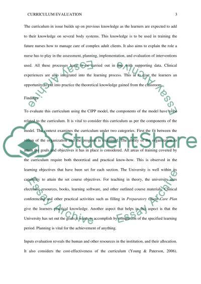 Curriculum Evaluation Paper essay example