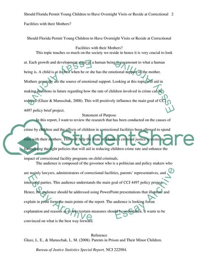 Extract Of Sample Policy Brief Writing Assignment TOPIC