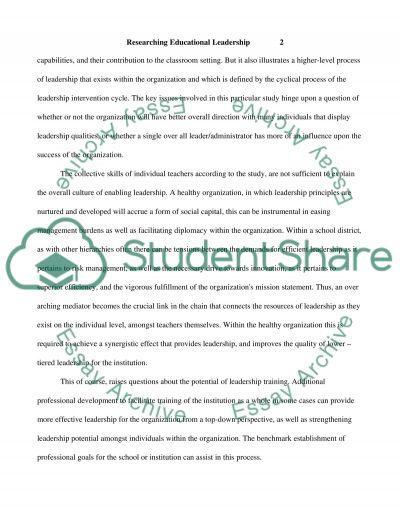 Researching Educational Leadership essay example