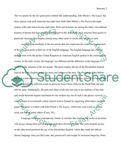 Thesis For A Persuasive Essay The Similarities And Differences Between The Legacy By John Donne And The  Passion By John Milton Protein Synthesis Essay also Persuasive Essay Samples For High School The Similarities And Differences Between The Legacy By John Donne  High School Graduation Essay