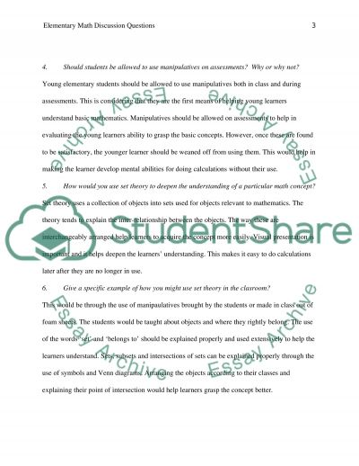 Elementary Math Questions essay example