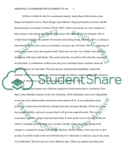 Personal Leadership Development Plan essay example