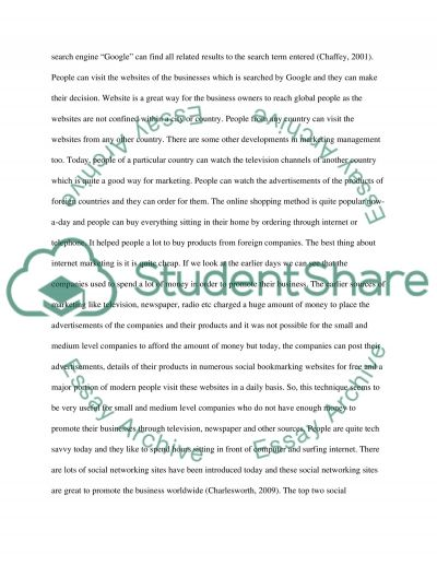 Project on Recent Developments in Marketing Management  Essay example