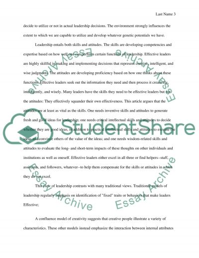 The Effective Leader Essay example