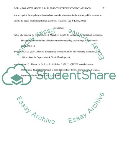 Collaborative Models in Elementary Education Classroom