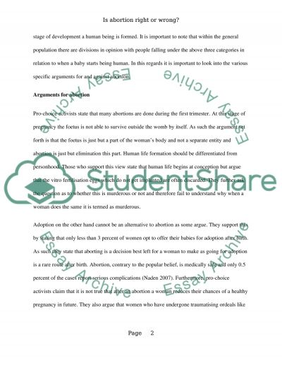 Is abortion right or wrong essay example