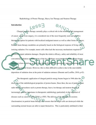 Radiobiology of proton therapy, heavy ion therapy and neutron therapy essay example