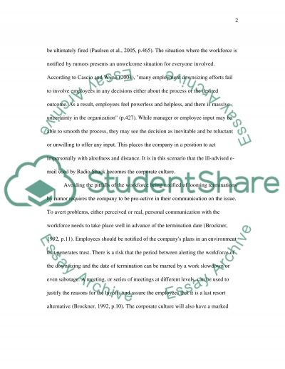 Surviving Employees after Job Termination essay example