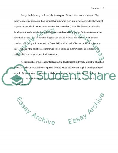 education economic development essay The role of education in economic development: theory, history, and current returns theodore r breton may 12, 2012 structured abstract background.
