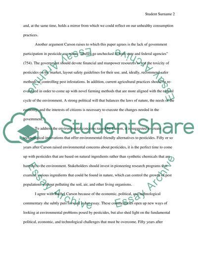 Rachel Carson Essay ⋆ Environment Essay Examples ⋆ EssayEmpire