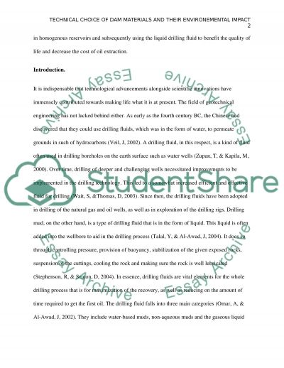 Technical choice of dam materials and their environmental impacts essay example