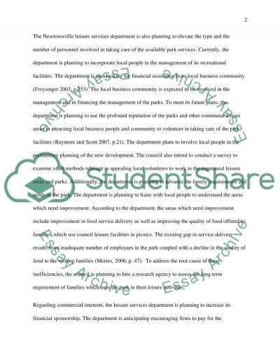 Public Funds Provision for Parks and Leisure Areas essay example