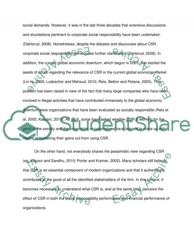 The concept of corporate social responsibility (CSR) essay example