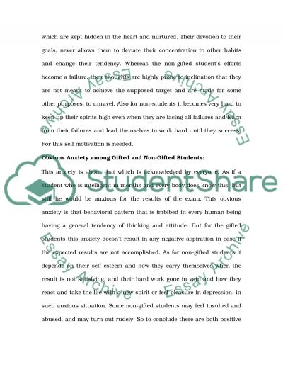 Trait anxiety between gifted and nongifted students essay example