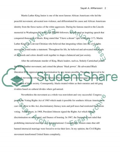The American Civil Rights Movement essay example